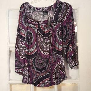 Nwt Purple black fun print blouse
